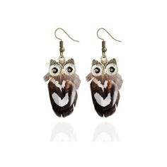 Alloy Owl Feather Drop Earrings ($1.80) ❤ liked on Polyvore featuring jewelry, earrings, feather earrings, owl jewellery, feather drop earrings, owl earrings and feather jewelry