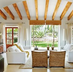 majorcan-old-house living room, exposed beams Living Room Interior, Home Living Room, Living Room Designs, Living Room Decor, Living Area, Cottage Living, Cozy Living, Country Living, Style At Home