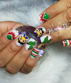Image may contain: 1 person Xmas Nails, Holiday Nails, Halloween Nails, Christmas Nails, Diy Nails, Mexican Theme Baby Shower, Mexican Nails, Kawaii Nail Art, 3d Nail Designs