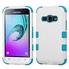 MYBAT TUFF Samsung Galaxy J1 / Amp 2 Case - White/Tropical Teal