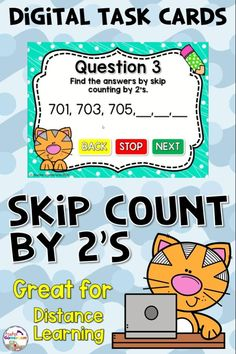 Digital set of Skip Counting Task Cards. Includes recording sheet and PRINTABLE cards. Great for distance learning.