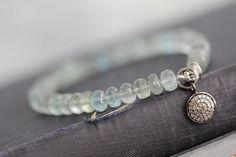 Moss Aquamarine Gemstone Bracelet with Pave by MossyCreekStudio, $98.00