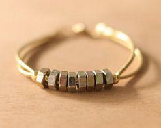 Handmade hex nut with gold metal thread bracelet