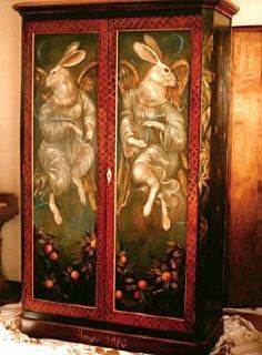 Renaissance Rabbit Angels Custom Armoire © 1986 Pamela Silin Palmer · Funky Painted  FurnitureDecoupage ...