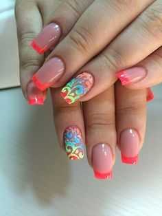 3d nails, Bright French, French 2016, French decor, French nails ideas, Nails with stickers, Neon nails, Original french