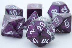 RPG Dice Set (Gemini Purple Silver) role playing game dice + bag