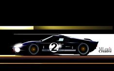 """""""AMERICAN MADE"""" Bruce McLaren - Ford GT 40 at Le Mans.  Original Art by MLewis"""