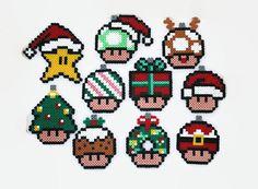 Perler beads - Perler Bead Gamer Christmas Tree Ornaments, Super Mario, SET of Christmas Gamer Decoration, Retr - Perler Bead Designs, Easy Perler Bead Patterns, Melty Bead Patterns, Hama Beads Design, Diy Perler Beads, Pearler Beads, Fuse Beads, Loom Patterns, Kitty Wallpaper