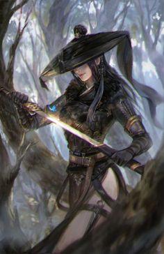 Samurai by Li zi on ArtStation Warrior Girl, Fantasy Warrior, Fantasy Women, Fantasy Girl, Fantasy Artwork, Fantasy Character Design, Character Art, Character Inspiration, Mobile Legend Wallpaper