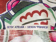 Oltex tyg draperi gardinlängd Retro 50 tal Splendolin Handtryck på