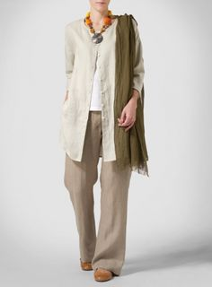 light khaki Linen Round Neck Button Front Top