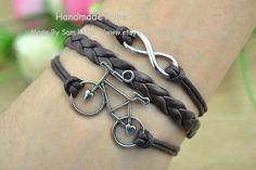 Bike Bracelet Infinity Bracelet Silver Charm by HandmadeTribe, $2.99 Fashion handmade leather bracelet