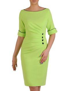 Sukienka wyszczuplająca, zielona kreacja z kontrastowymi wstawkami 20428. | Sklep online ModBiS.pl Classy Dress, Classy Outfits, Chic Outfits, Dress Outfits, Casual Dresses, Short Dresses, Dresses For Work, Dresses With Sleeves, Fashion Outfits