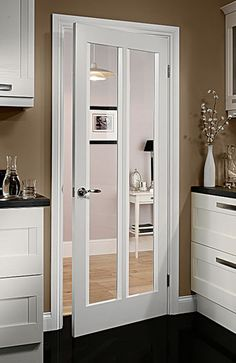 White Interior Doors white primed contemporary 4 lite pre-glazed (40mm) | internal