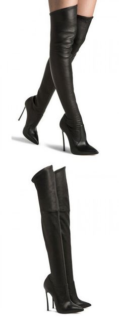 Black Pointed PU Panel Over The Knee Heeled Boots