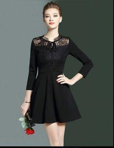 Đầm xòe phối ren cao cấp - B4467 Simple Dresses, Cute Dresses, Short Dresses, Prom Dresses, Dresses For Work, Formal Dresses, Witch Fashion, Gothic Fashion, Hong Kong Fashion