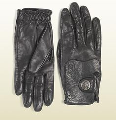Gucci black leather gloves with gucci crest from equestri ...