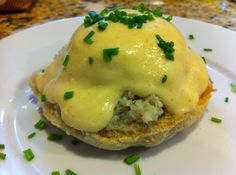 Eggs Benedict with Crab. I'd probably substitute turkey sausage and asparagus instead of crab and the bun.