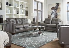 Reina Gray 4 Pc Leather Living Room | Leather living rooms, Living ...