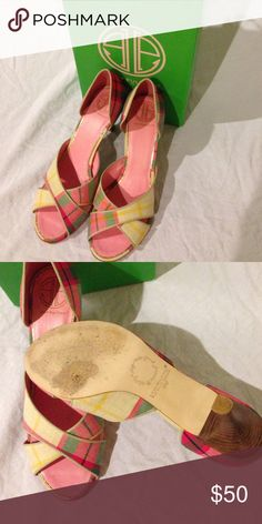 Lilly Pulitzer Cross Your Fingers heel Lilly Pulitzer Cross Your Fingers heel in Cocktail pink - Palm Beach Prep Plaid. Worn once and in box. Lilly Pulitzer Shoes Heels