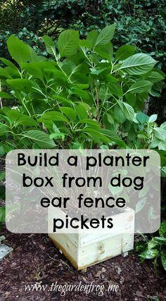 Build a garden planter box from dog ear fence pickets Dog Ear Fence, Garden Frogs, Garden Planter Boxes, Diy Garden Decor, Ways To Save Money, Garden Projects, Garden Inspiration, Beautiful Gardens, Outdoor Gardens