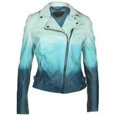 Muubaa Women's Ocean Blue Ombre Leather Jacket ($580) ❤ liked on Polyvore