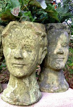 head planters for sale pots - head planters Face Planters, Cement Planters, Diy Planters, Garden Planters, Container Plants, Container Gardening, Planters For Sale, Cement Garden, Landscape Design Plans
