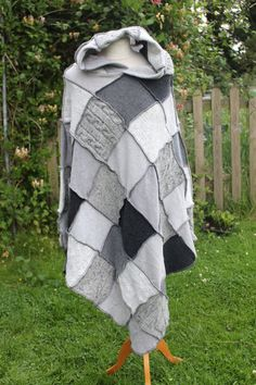 Upcycled Hooded Patchwork Wool Poncho in shades of grey/gray. Monochrome. Medium. Handmade in UK from Recycled Knitwear OOAK.