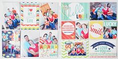 Hello Love Double Spread Photo Freedom Layout using Happy Go Lucky Collection. #echoparkpaper