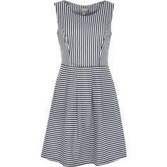 Sleeveless Stripe Dress by Poem found on Polyvore