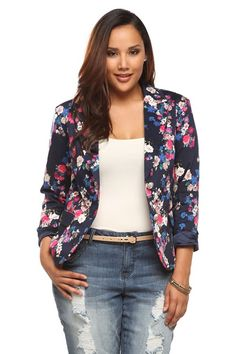 Blooming with colorful flowers, this deep blue blazer is a stylish, feminine update to the classic business jacket. Features silver buttons, flap pockets and a satiny blue liner. Slip on and add pattern play to your desk or date-night looks.
