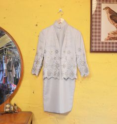 60s Pale Blue Mod Cheongsam Dress Suit Floral by RedHawkAttic