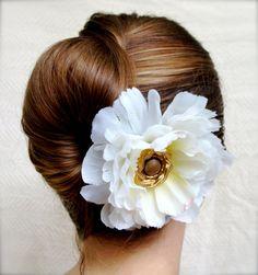 "Ivory Flower Hair Clip, Fascinator, Bridal Hair Accessory - ""Springtime in Winter"""