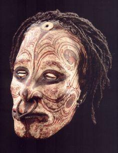 Iatmul - Painted and Overmodeled Skull. Papua New Guinea.