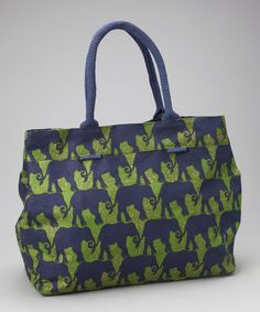 Hey @ Rebecca Dunn!   Take a look at this Navy & Green Elephant Train City Tote by rockflowerpaper on #zulily today!