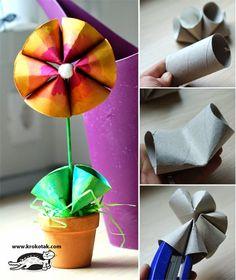 Flores feitas com rolo de papel higiênico para a primavera - Reciclagem - Mundinho da Criança - Atividades para Educação Infantil