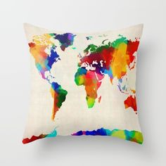 A map of the world painting in bright colors on a vintage style background