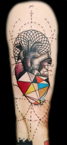 Arm Dotwork Geometric Heart Tattoo by Ink-Ognito Arrow Tattoos, Feather Tattoos, Leg Tattoos, Arm Tattoo, Heart Tattoos, Tattos, Trendy Tattoos, Small Tattoos, Tattoos For Guys