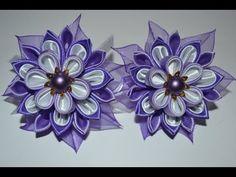 Цветы из ткани: мастер класс. Многослойный цветок канзаши. - YouTube