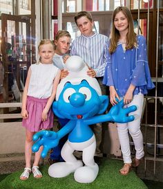 (From L) Princess Eleonore, Prince Emmanuel, Prince Gabriel and Crown Princess Elisabeth pose during a photo-shoot of the Belgian Royal Family's vacation Belgian Comic Strip Center, in Brussels, on July 19, 2016.