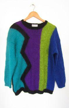 Vintage 80s Jennifer Moore colour block mohair wool blend jumper sweater, M Colour Block, Color Blocking, 80s Fashion, Fancy Dress, Wool Blend, 1970s, Jumper, Sweaters, Vintage