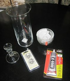 Things from dollar store needed for apotheraphy jars. Vase. Candlestick.  Glass bowl.  Glass drawer pulls, these are from walmart, hollie lobbie has them also.