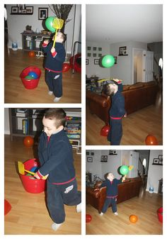 Bb is for Balloon Tennis / Gross Motor Play (from Little Bins for Little Hands)
