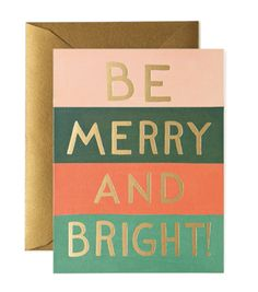 buy for self to give with school gifts-Be Merry and Bright Color Block Card