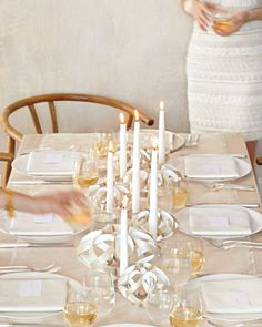 Twisted Veneer Candleholders and Garland