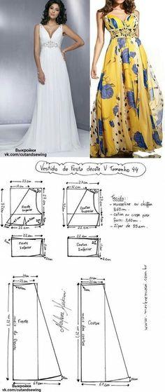 Pattern dress size 36-46..<3 Deniz <3 vestido de festa longo decote v molde e costura
