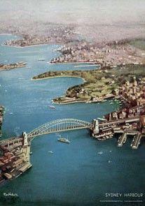 Sidney Harbour, Australia. Vintage Travel poster by James Northfield