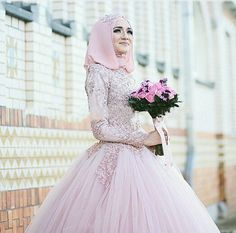 Discount Pink Tulle Beaded Lace Appliqued High Neck Long Sleeve Hijab Muslim Wedding Gown  From Trustful Online Seller Easebuydress