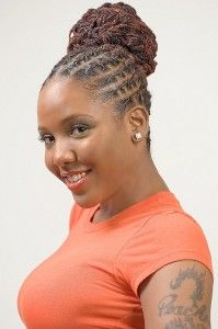 Natural hair updo with locs