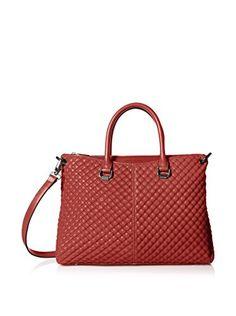 "www.myhabit.com  Luxe, textured satchel design features exterior zip pocket; slip pocket with magnetic button snap and interior zip and 2 slip pockets; 5"" handle drop; removable and adjustable strap"